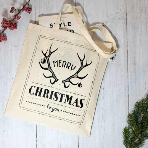 Jutebeutel / Stoffbeutel Merry Christmas / Frohe Weihnachten mit Buch